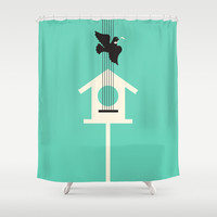 A bird stole my song Shower Curtain by Budi Satria Kwan