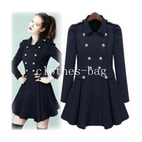Women stylish drape puff sleeve waist skirt double breasted trench coat jacket