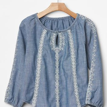 Gap Girls Embroidered Chambray Top