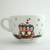 Chilly owls - Valentines Day - Big mug - hand painted in Italy