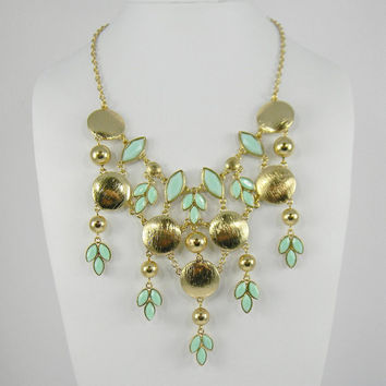 Stunning Chandelier Statement Necklace - Mint Green and Gold Dripping Lotus Petal Leaves -