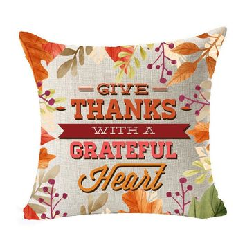 Give Thanks With A Grateful Heart Thanksgiving Decorative Throw Couch Sofa Cute Pillows Cover Cushion