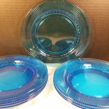 Aquamarine Blue Depression Glass Plates Ribbed Braid Border Set of 8 Lunch Salad Dinner Plates Stunning Blue Green Plates Dinner Party 8