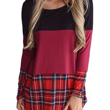 Striped Patchwork Long Sleeves Round Neck T-shirt