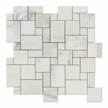 Calacatta Gold Marble Polished Mini Versailles Mosaic Tile