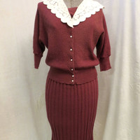 Vintage Burgundy Knit Dress 2 Pc. Wool Top Skirt Secretary Look Lace Collar Pearl Button Front Dolman Sleeve Sz 4-6 Small MidCentury Dress