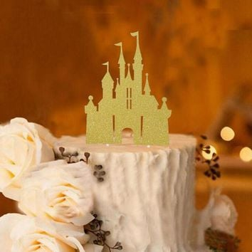 cake toppers paper banner glitter castle for Cupcake Wrapper Baking Cup birthday tea party decoration baby shower