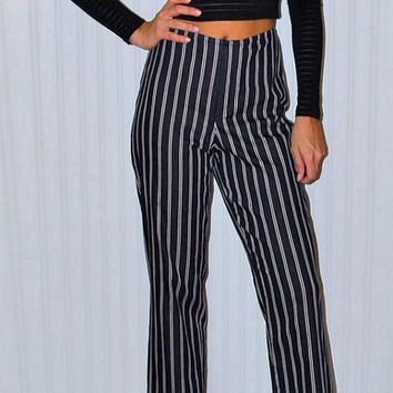 Black and White Stripe Cropped Pants High Waist Flare Leg Mod Modern Hipster Vintage 90's Ellen Tracy Vertical Stripes Trendy Women's Small