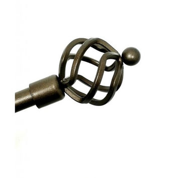 Adjustable Metal Curtain Rods With Spiral Globe Finials- Vivian- Bronze