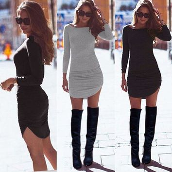 ONETOW HOT Sexy Women Ladies Bodycon Party Long Sleeve Casual Tunic Top Short Mini Dress Autumn