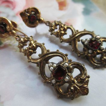 Victorian 10K Garnet Drop Screw Back Earrings Seed Pearl Accents