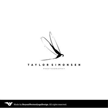 Black White Photography Logo, Premade logo, Custom dragon-fly Logo, Handwritten Logo, Logo Photography, boutique design  dragon-fly logo
