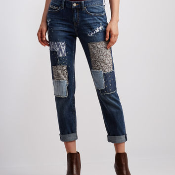 Medium Wash Patchwork Boyfriend Jean