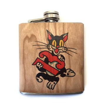 Lucky 13 Wood Flask