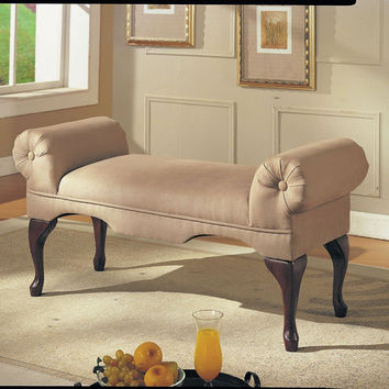 Aston Beige Microfibre Rolled Arm Bench 05629