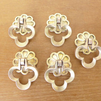 Mid century brass clover or trefoil drawer pulls with backplates, set of five