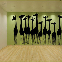 Giraffes Wall Decal Sticker Graphic Huge