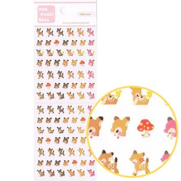 Tiny Deer Doe Bambi Shaped Animal Sticker Seals for Scrapbooking and Nail Art