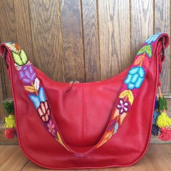 Mexican Designer Red Leather Handbag with Wool Embroidery
