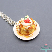 Together Breakfast Necklace, Steven Universe, Breakfast Jewelry, Fake Food Necklace, Polymer Clay Food, Miniature Food Jewelry, Cosplay Prop