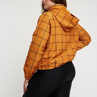 Plus Size Windowpane Hooded Windbreaker | Charlotte Russe