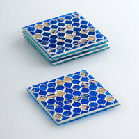 Cobalt Blue Glass Mosaic Coaster Set