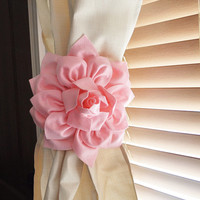 TWO Dahlia Flower Curtain Tie Backs Curtain Tiebacks Curtain Holdback -Drapery Tieback-Baby Nursery Decor-light pink Decor