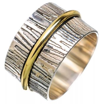 Textured Two Tone Single Spinner Ring