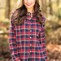 PIKO:One Step At A Time Plaid Blouse-Red