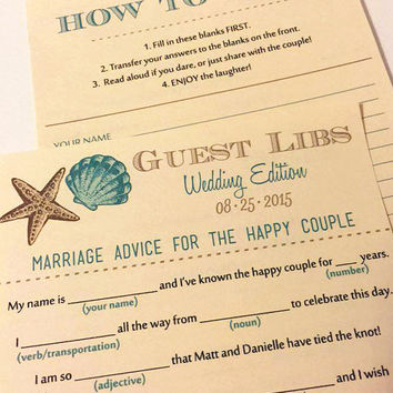 Beach Wedding Mad Lib Guest Libs - Seashell Wedding Game - Ad Lib Engagement Party Wedding Guestbook Alternative | DEPOSIT | ANY Color