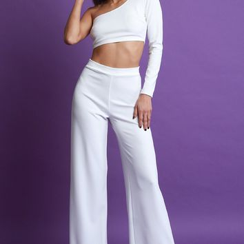 Palazzo Pants Set Women's Clothing One Shoulder Crop Top By LUD | One Shoulder Crop Top with Palazzo Pants Set