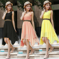 Summer Casual Dress, Tropical Fashion Irregular Dress