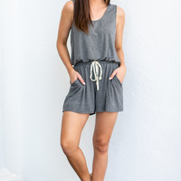 Back At The Beach Romper, Charcoal