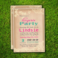 Vintage Rustic Floral Lace Turquoise Personalized Bachelorette / Lingerie Party / Bridal Shower / Birthday Party Invitation Card - Printable