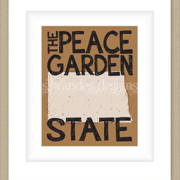 8x10 North Dakota Print, The Peach Garden State Map Art Custom Colors