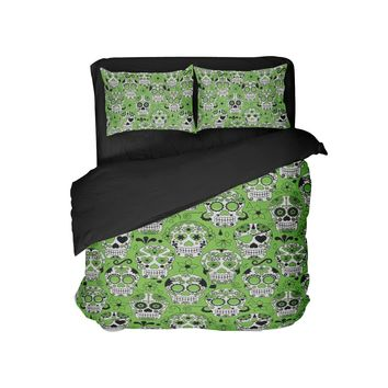 Green and Black Sugar Skulls Pillowcase from Extremely Stoked Skull Bedding Collection