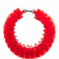 Red PVC Ruffle Collar Necklace