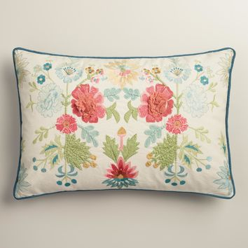 Coral and Blue Floral Embroidered Lumbar Pillow