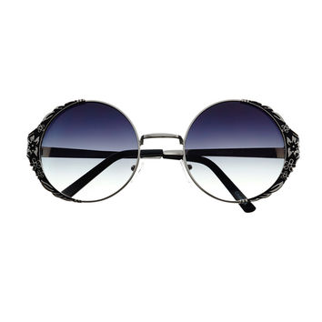 Cute Unique Floral Metal Frame Retro Fashion Womens Round Sunglasses R2790