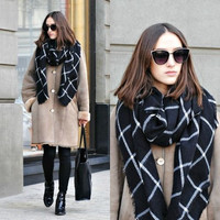 Women Blanket Black White Plaid Cozy Checkered Tartan Scarf Shawl Wraps