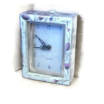 Wall clock ,wooden clock ,wood clock ,decorative clocks ,old clocks ,electric clock ,white clock ,pink clock ,floral clock ,distressed clock