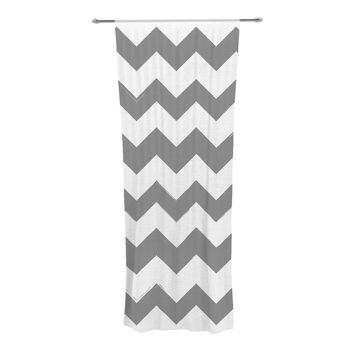 "KESS Original ""Candy Cane Gray"" Chevron Decorative Sheer Curtain"