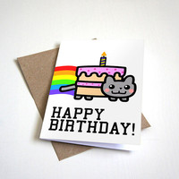 Nyan Cat Meme Birthday Card - Humour Card Happy Birthday - Rainbow Cat Birthday Card  4.5X6.25 Inch card