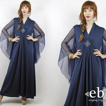 Vintage 70s Navy Angel Sleeve Maxi Dress M L Angel Sleeve Dress Hippie Dress Party Dress Prom Dress Navy Maxi Dress Hippy Dress