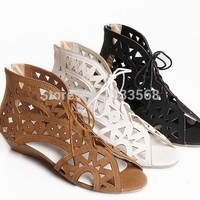 Women Flats Cut Outs Soft Leather Shoes Breckelles Covina Strappy Gladiator lace up