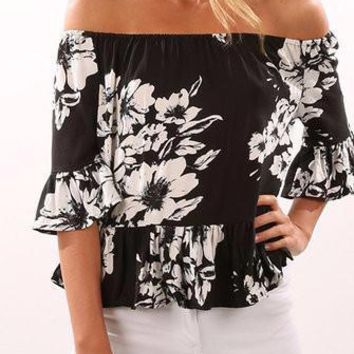 Black Off Shoulder Floral Print Frill Trim  3/4 Sleeve Blouse