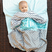 Baby Boys Grey Chevron Dot Minky Blanket