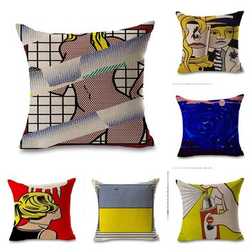 Roy Lichtenstein Pop Art Geometrics Pillow Euro Cover Decorative Massager Decorative Pillows Home Decor Gift