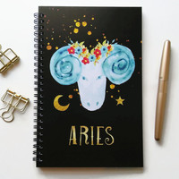Writing journal, spiral notebook, bullet journal, black sketchbook, cute notebook, blank lined grid, zodiac sign, astrology - Aries
