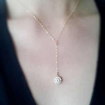 Gold Round Crystal Necklace Lariat, 16k Gold Rhinestone, Crystal Rosary Necklace